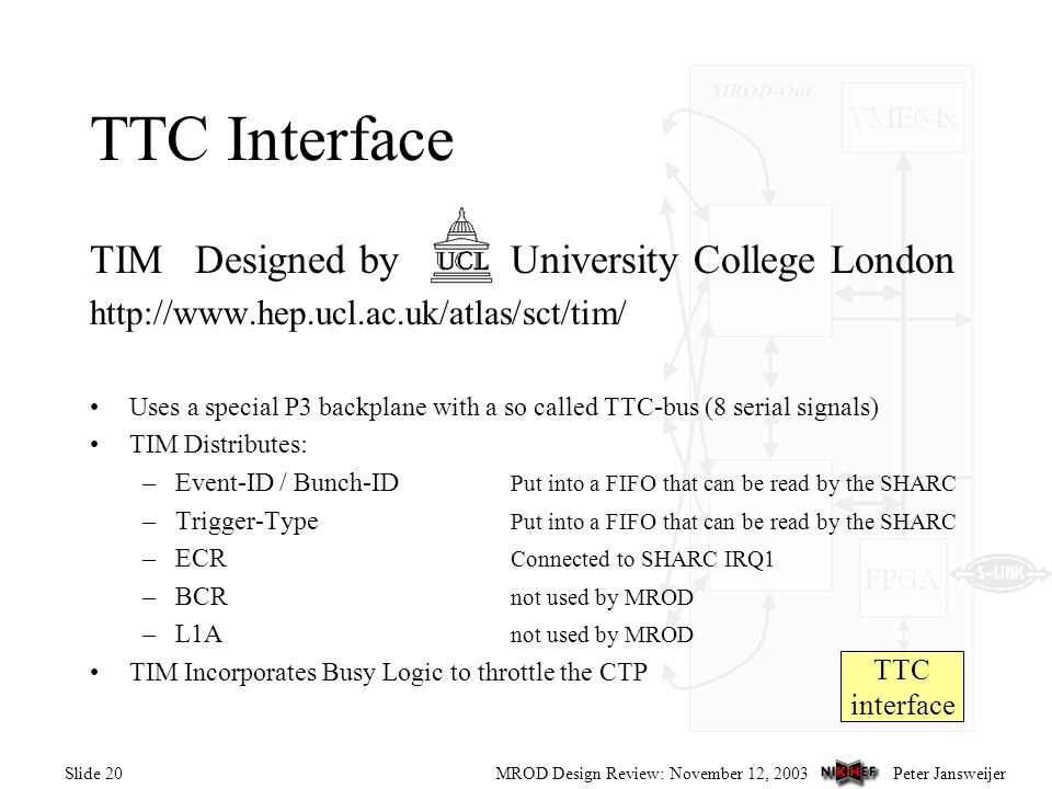 Peter JansweijerMROD Design Review: November 12, 2003Slide 20 TTC interface TTC Interface TIMDesigned by University College London http://www.hep.ucl.ac.uk/atlas/sct/tim/ Uses a special P3 backplane with a so called TTC-bus (8 serial signals) TIM Distributes: –Event-ID / Bunch-ID Put into a FIFO that can be read by the SHARC –Trigger-Type Put into a FIFO that can be read by the SHARC –ECR Connected to SHARC IRQ1 –BCR not used by MROD –L1A not used by MROD TIM Incorporates Busy Logic to throttle the CTP
