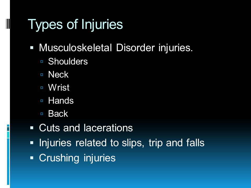 Types of Injuries  Musculoskeletal Disorder injuries.