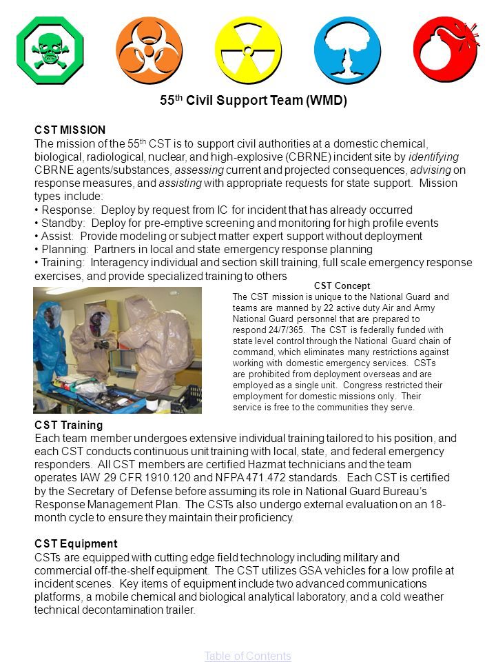 Table of Contents 55 th Civil Support Team (WMD) CST MISSION The mission of the 55 th CST is to support civil authorities at a domestic chemical, biol