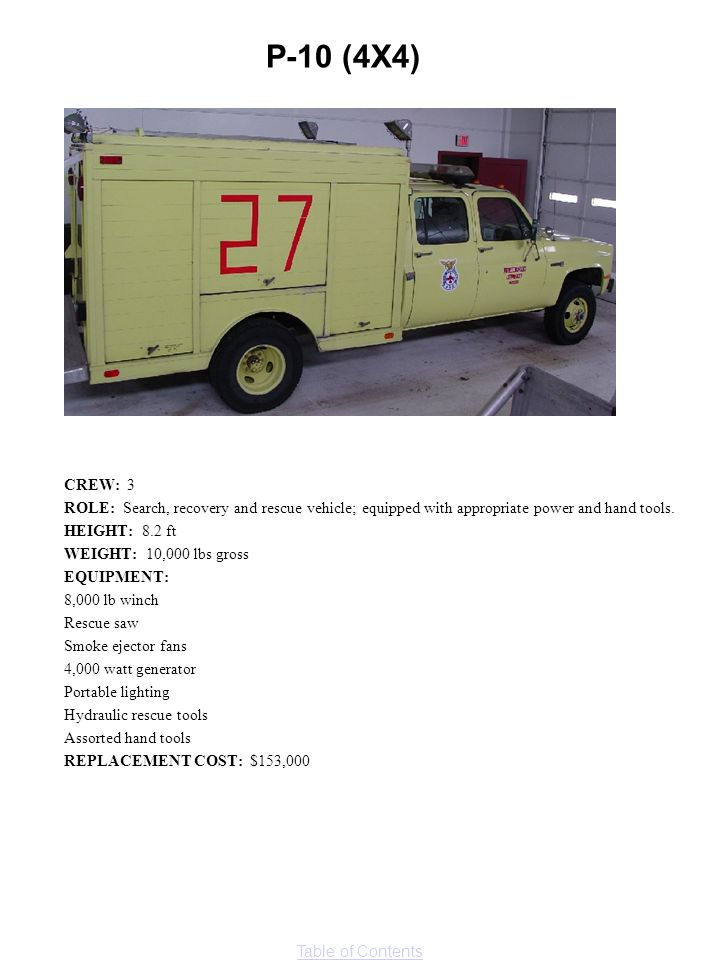 Table of Contents CREW: 3 ROLE: Search, recovery and rescue vehicle; equipped with appropriate power and hand tools. HEIGHT: 8.2 ft WEIGHT: 10,000 lbs