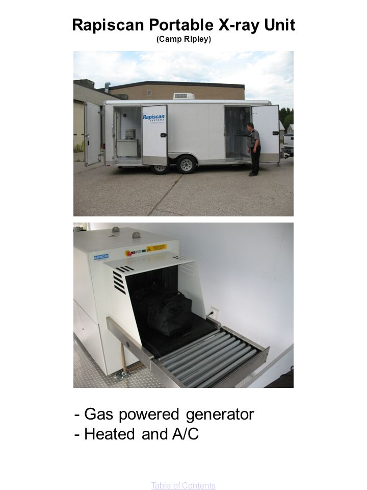 Table of Contents - Gas powered generator - Heated and A/C Rapiscan Portable X-ray Unit (Camp Ripley)