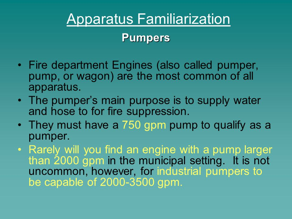 Apparatus Familiarization Aerial Apparatus Aerial apparatus can be separated into two categories: those with pumps and those without.