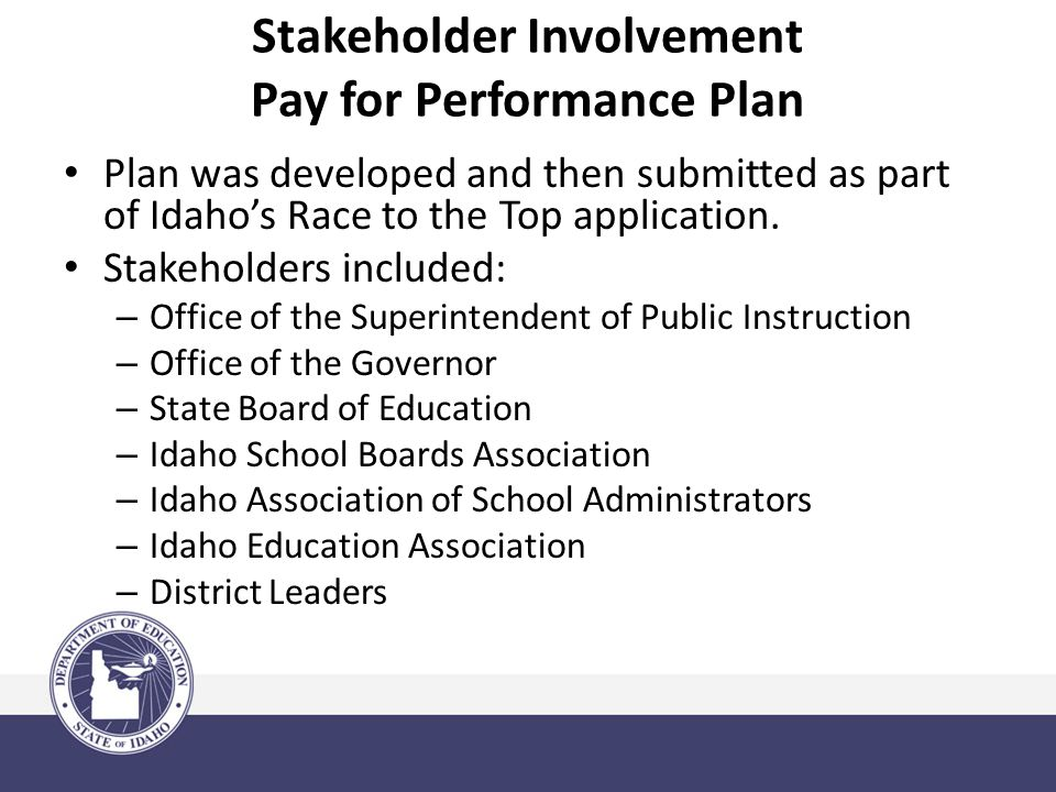 Stakeholder Involvement Pay for Performance Plan Plan was developed and then submitted as part of Idaho's Race to the Top application.