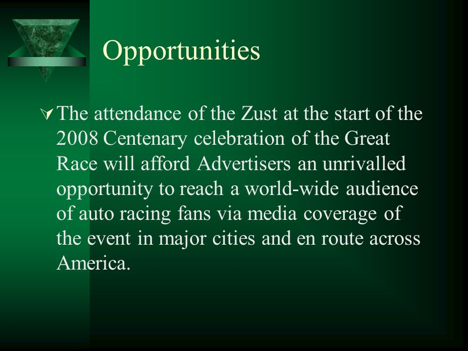 Opportunities  The attendance of the Zust at the start of the 2008 Centenary celebration of the Great Race will afford Advertisers an unrivalled opportunity to reach a world-wide audience of auto racing fans via media coverage of the event in major cities and en route across America.