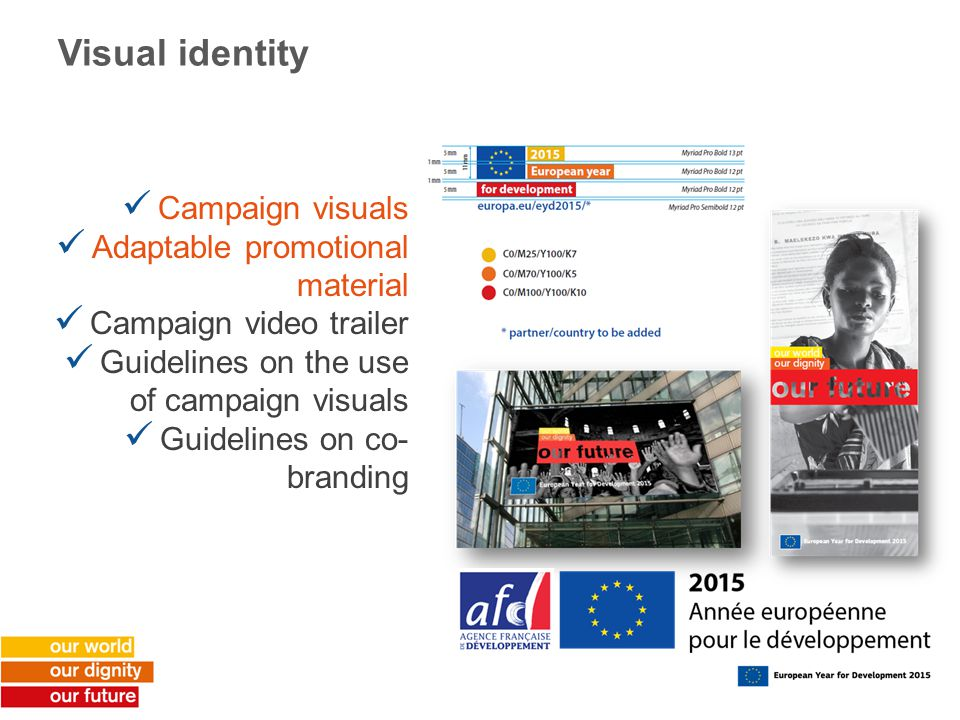Visual identity Campaign visuals Adaptable promotional material Campaign video trailer Guidelines on the use of campaign visuals Guidelines on co- branding