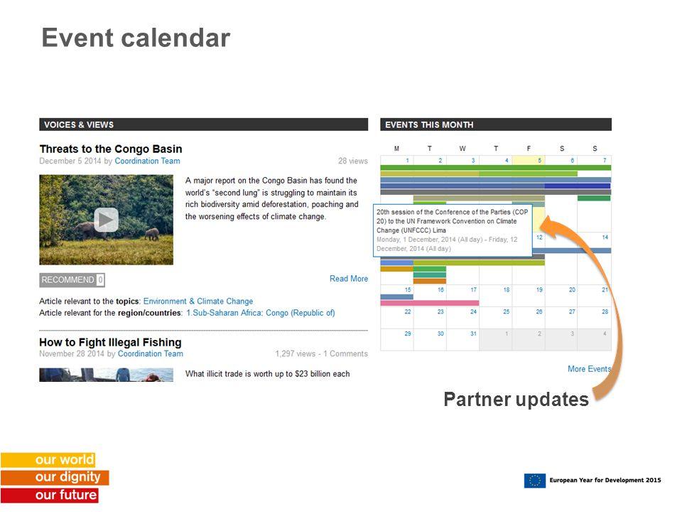 Event calendar Partner updates