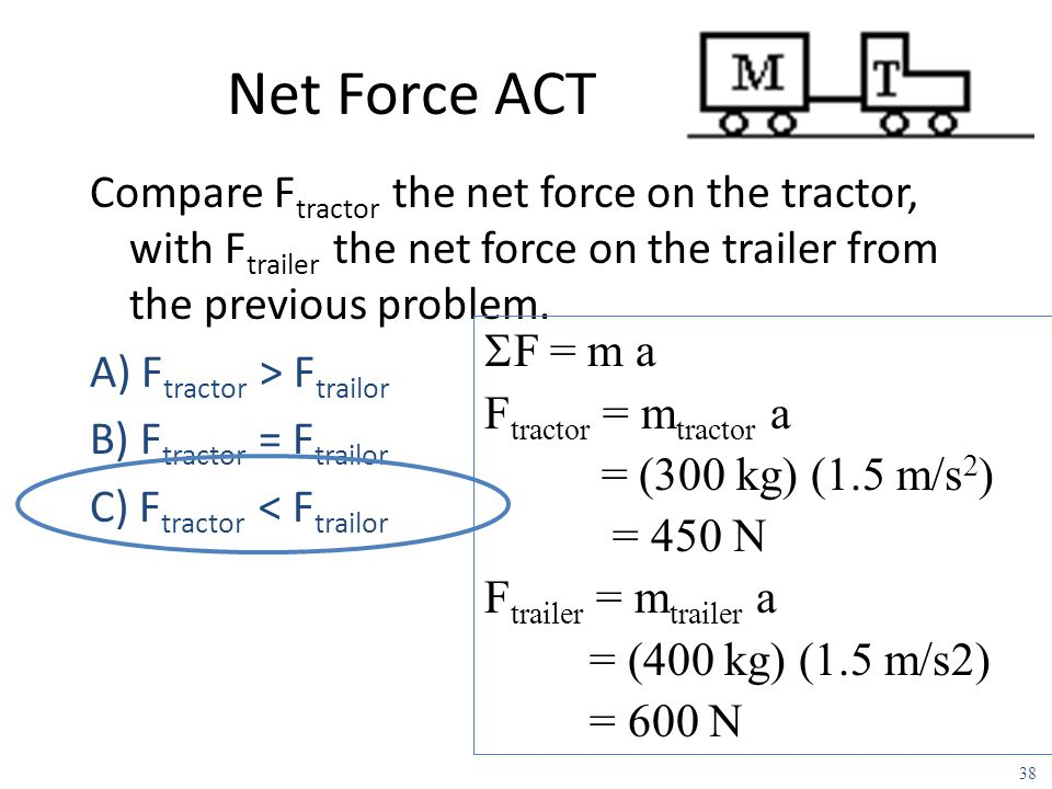 Example: A tractor T (m=300Kg) is pulling a trailer M (m=400Kg). It starts from rest and pulls with constant force such that there is a positive accel
