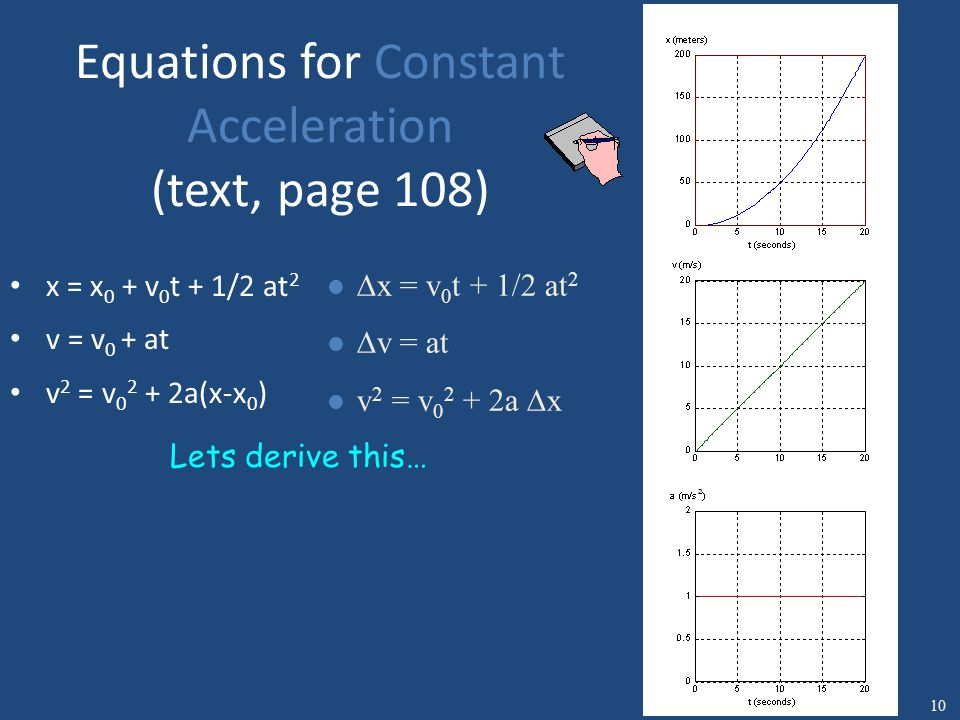Equations for Constant Acceleration (text, page 108) x = x 0 + v 0 t + 1/2 at 2 v = v 0 + at v 2 = v 0 2 + 2a(x-x 0 ) l  x = v 0 t + 1/2 at 2 l  v = at l v 2 = v 0 2 + 2a  x Lets derive this… 10