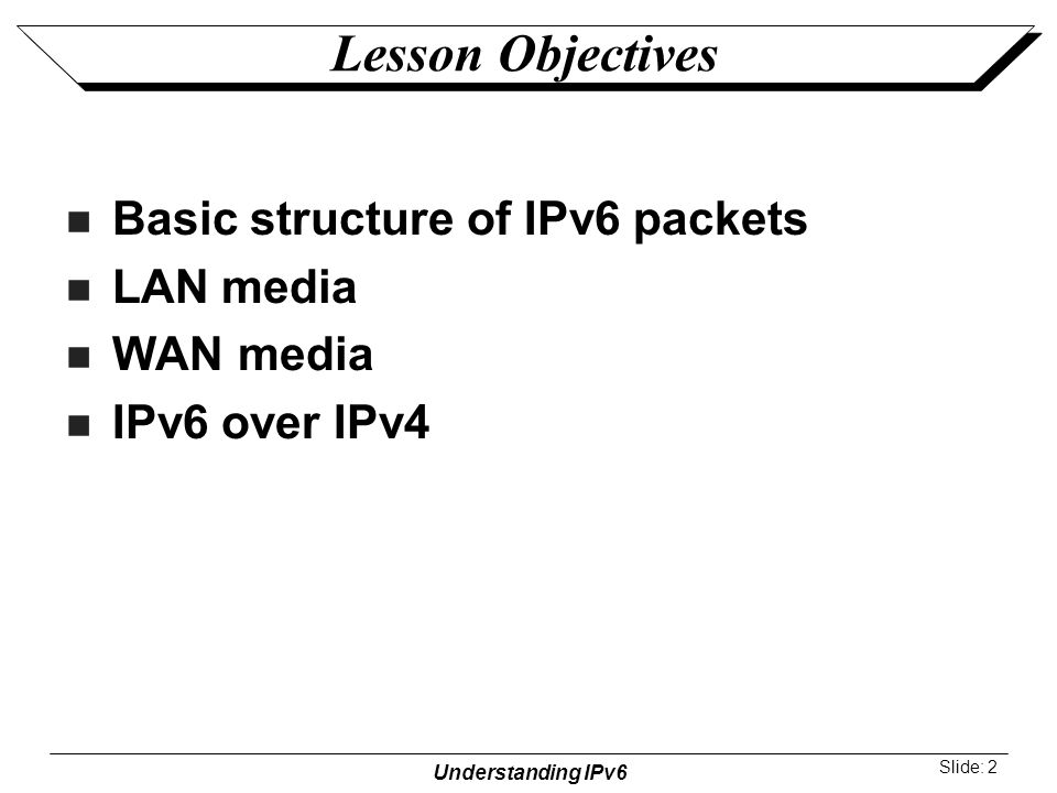 Understanding IPv6 Slide: 2 Lesson Objectives Basic structure of IPv6 packets LAN media WAN media IPv6 over IPv4