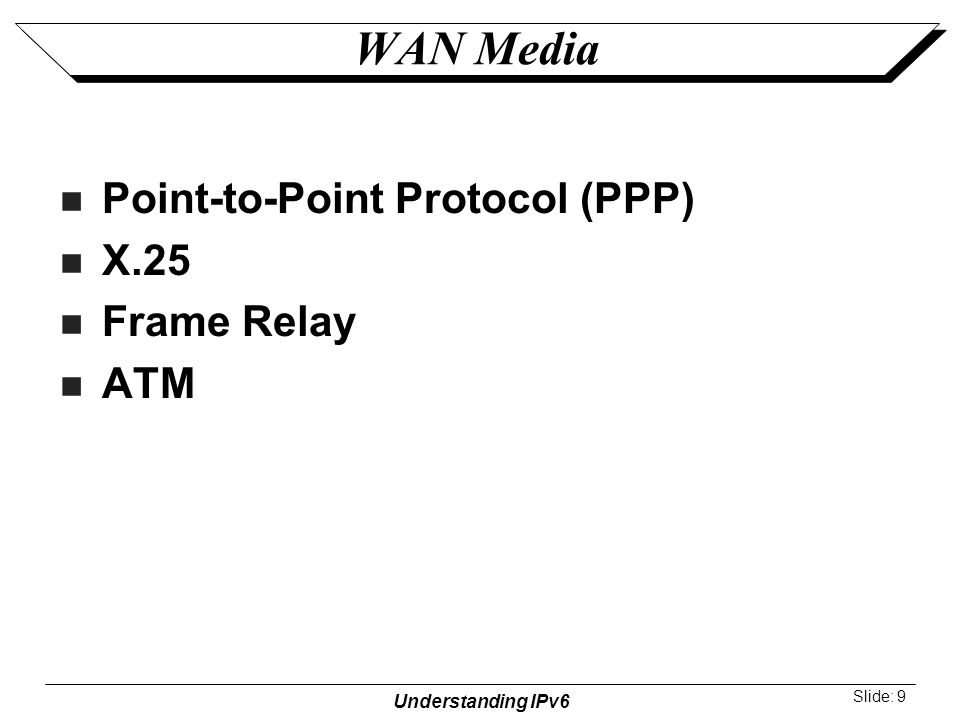 Understanding IPv6 Slide: 9 WAN Media Point-to-Point Protocol (PPP) X.25 Frame Relay ATM