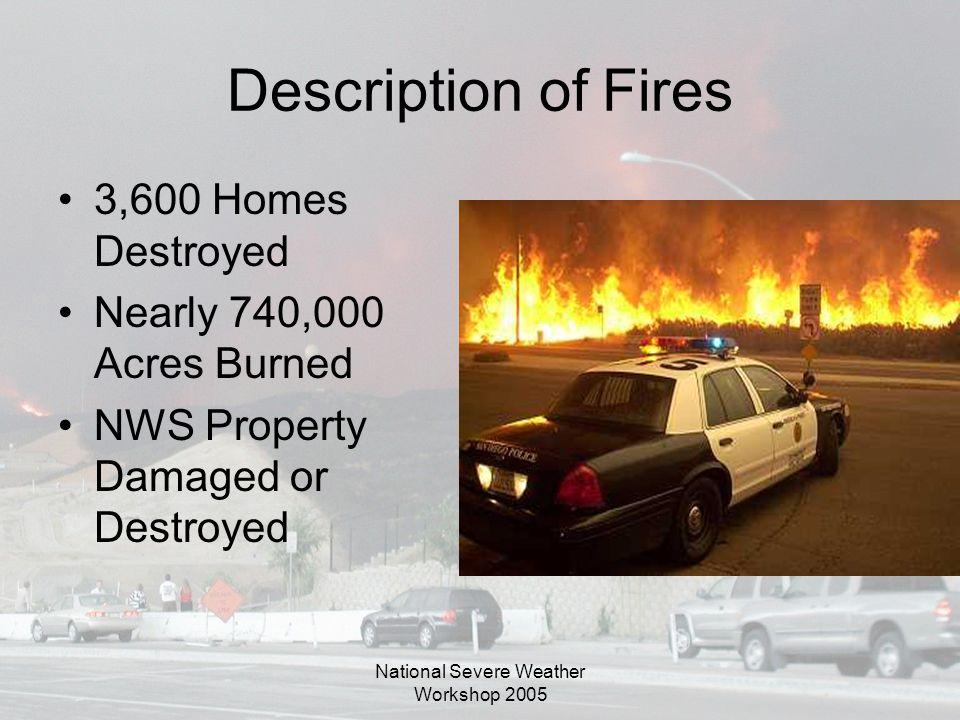 National Severe Weather Workshop 2005 Description of Fires 3,600 Homes Destroyed Nearly 740,000 Acres Burned NWS Property Damaged or Destroyed