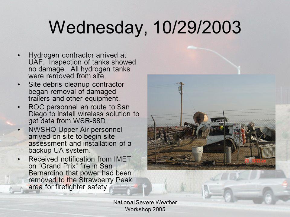 National Severe Weather Workshop 2005 Wednesday, 10/29/2003 Hydrogen contractor arrived at UAF. Inspection of tanks showed no damage. All hydrogen tan