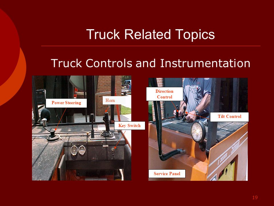 19 Truck Related Topics Truck Controls and Instrumentation Power Steering Key Switch Tilt Control Direction Control Service Panel Horn