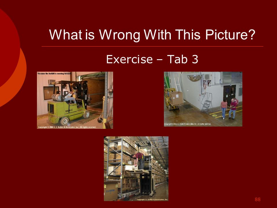 88 What is Wrong With This Picture? Exercise – Tab 3