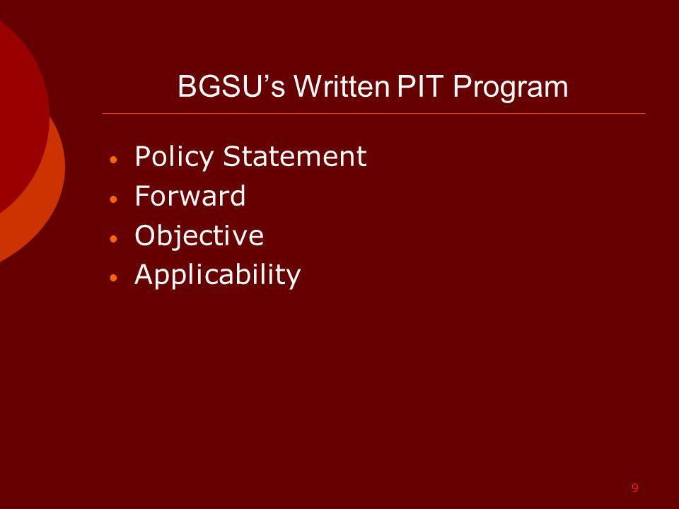9 BGSU's Written PIT Program Policy Statement Forward Objective Applicability