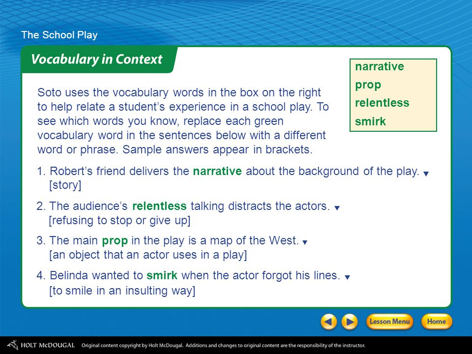 """The School Play As you read """"The School Play,"""" record questions about what is happening in a chart like the one shown. Monitor My QuestionsAnswers Wha"""