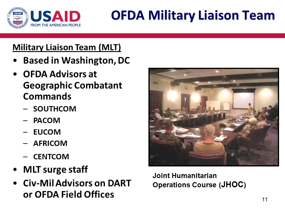 11 OFDA Military Liaison Team Joint Humanitarian Operations Course ( JHOC ) Military Liaison Team (MLT) Based in Washington, DC OFDA Advisors at Geogr