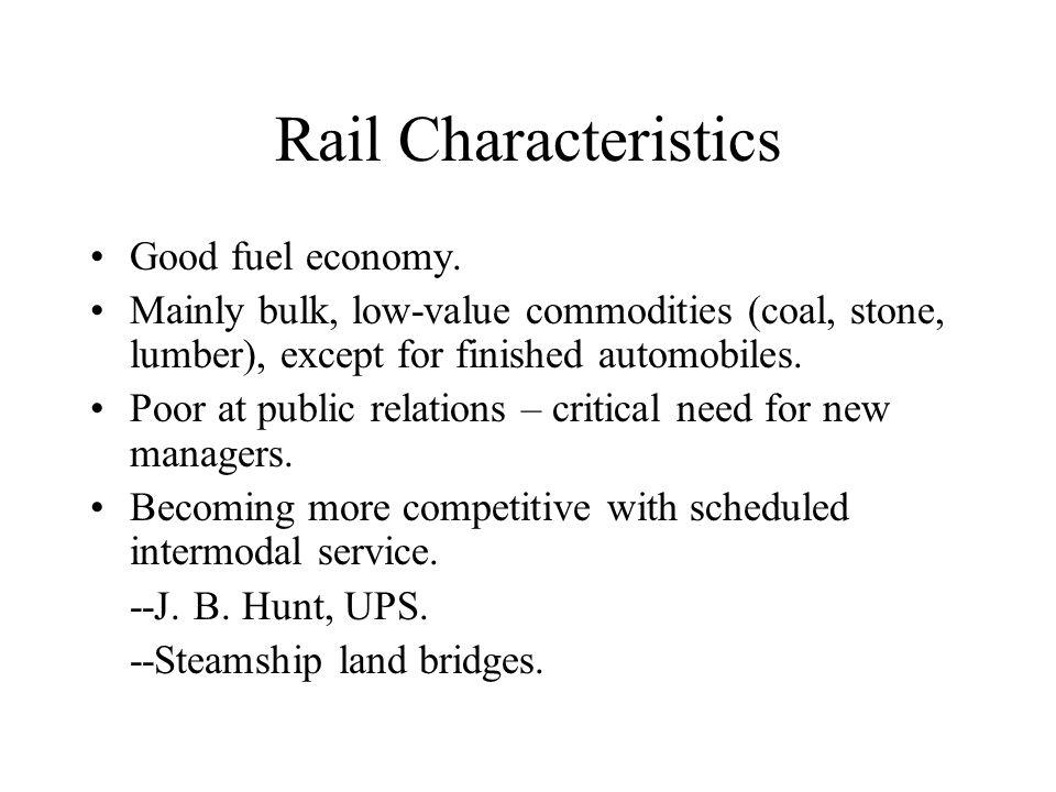 Rail Characteristics Good fuel economy.