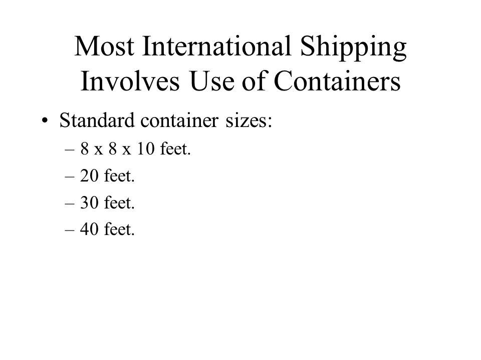 Standard container sizes: –8 x 8 x 10 feet. –20 feet. –30 feet. –40 feet.