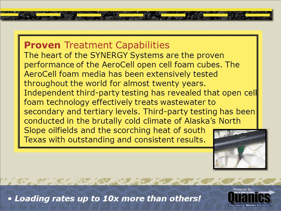 Proven Treatment Capabilities The heart of the SYNERGY Systems are the proven performance of the AeroCell open cell foam cubes.