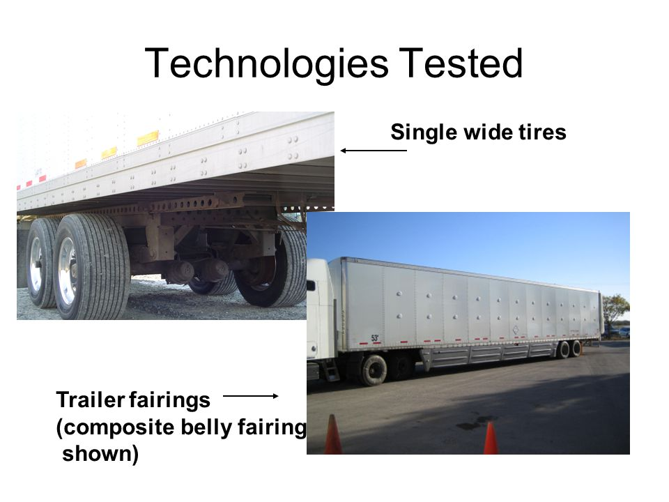 Technologies Tested Single wide tires Trailer fairings (composite belly fairing shown)