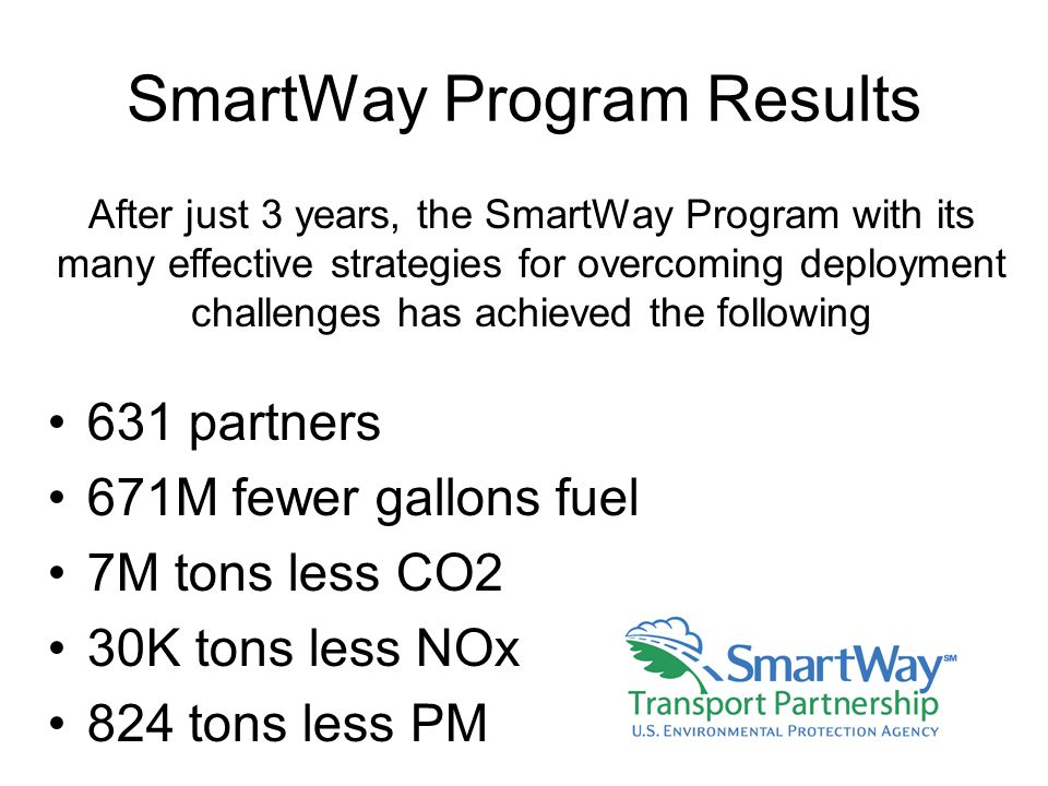SmartWay Program Results 631 partners 671M fewer gallons fuel 7M tons less CO2 30K tons less NOx 824 tons less PM After just 3 years, the SmartWay Program with its many effective strategies for overcoming deployment challenges has achieved the following