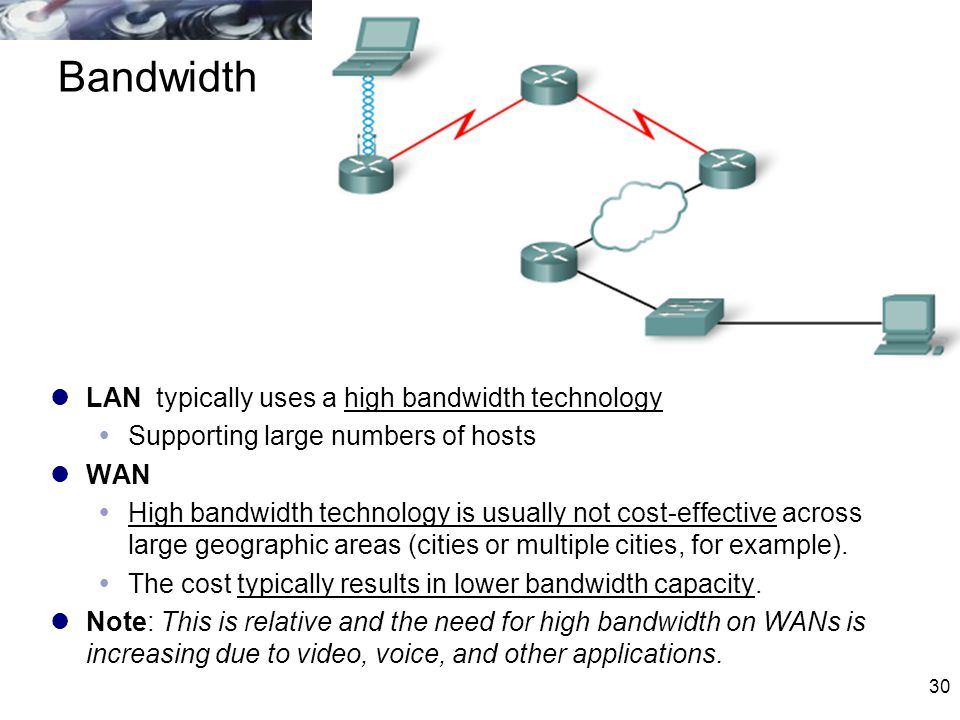 30 Bandwidth LAN typically uses a high bandwidth technology  Supporting large numbers of hosts WAN  High bandwidth technology is usually not cost-ef