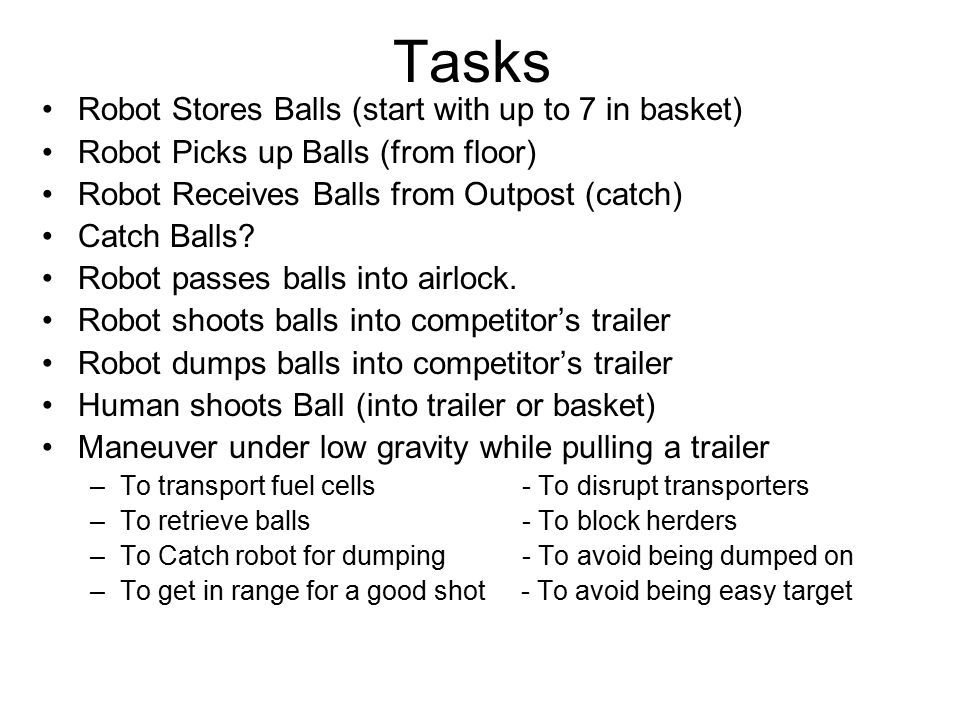 Tasks Robot Stores Balls (start with up to 7 in basket) Robot Picks up Balls (from floor) Robot Receives Balls from Outpost (catch) Catch Balls? Robot