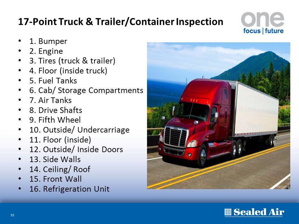 32 17-Point Truck & Trailer/Container Inspection 1. Bumper 2. Engine 3. Tires (truck & trailer) 4. Floor (inside truck) 5. Fuel Tanks 6. Cab/ Storage