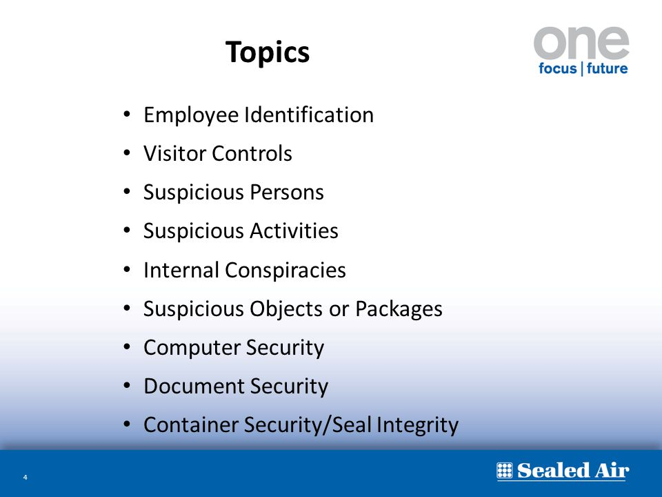 4 Employee Identification Visitor Controls Suspicious Persons Suspicious Activities Internal Conspiracies Suspicious Objects or Packages Computer Secu