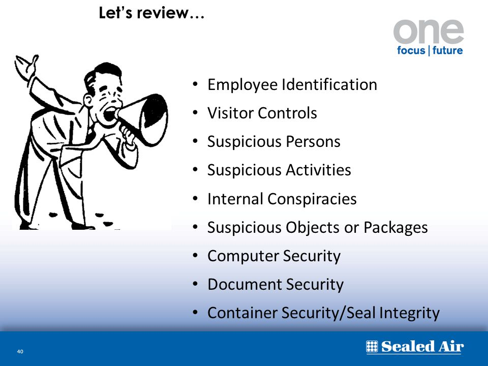 40 Employee Identification Visitor Controls Suspicious Persons Suspicious Activities Internal Conspiracies Suspicious Objects or Packages Computer Sec