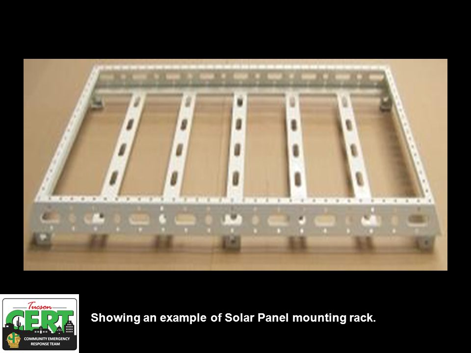 Showing an example of Solar Panel mounting rack.