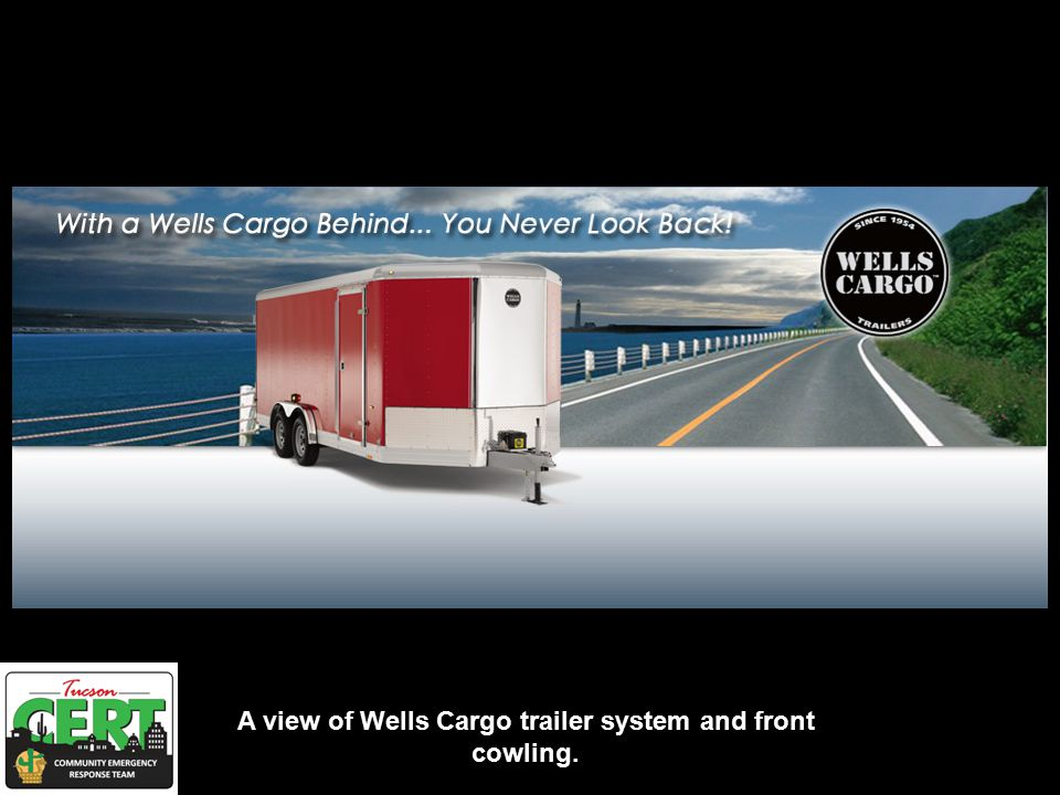A view of Wells Cargo trailer system and front cowling.