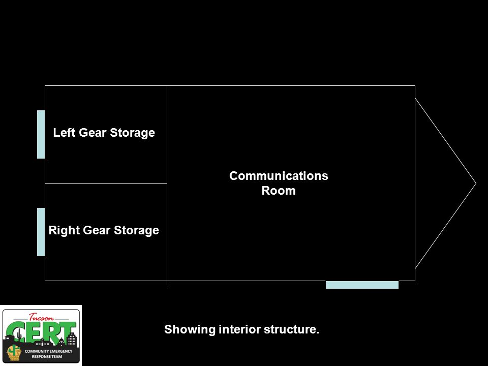 Left Gear Storage Right Gear Storage Communications Room Showing interior structure.