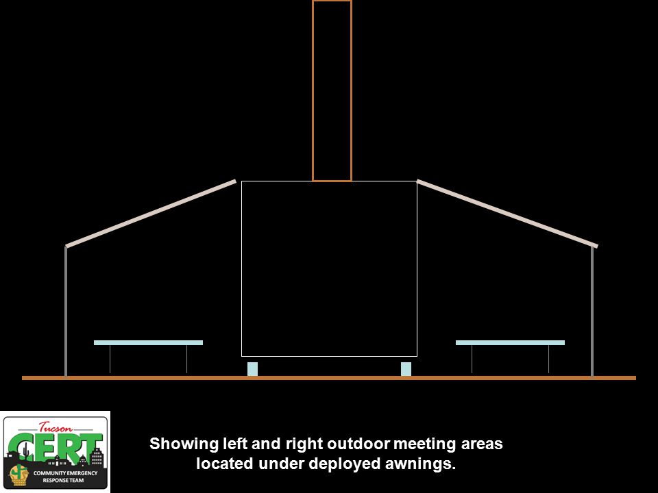 Showing left and right outdoor meeting areas located under deployed awnings.