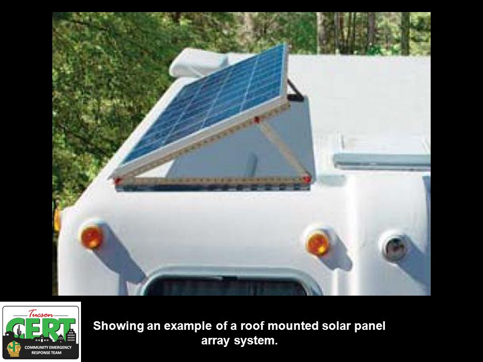 Showing an example of a roof mounted solar panel array system.