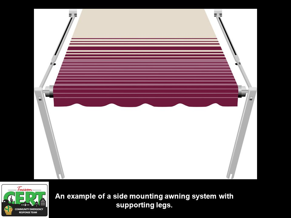 An example of a side mounting awning system with supporting legs.