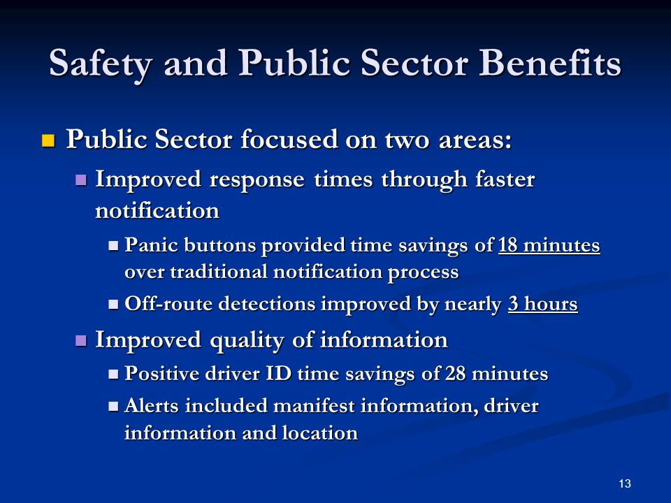 13 Safety and Public Sector Benefits Public Sector focused on two areas: Public Sector focused on two areas: Improved response times through faster notification Improved response times through faster notification Panic buttons provided time savings of 18 minutes over traditional notification process Panic buttons provided time savings of 18 minutes over traditional notification process Off-route detections improved by nearly 3 hours Off-route detections improved by nearly 3 hours Improved quality of information Improved quality of information Positive driver ID time savings of 28 minutes Positive driver ID time savings of 28 minutes Alerts included manifest information, driver information and location Alerts included manifest information, driver information and location
