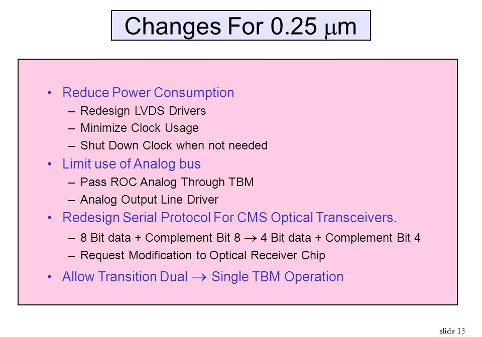 slide 13 Changes For 0.25  m Reduce Power Consumption –Redesign LVDS Drivers –Minimize Clock Usage –Shut Down Clock when not needed Limit use of Anal