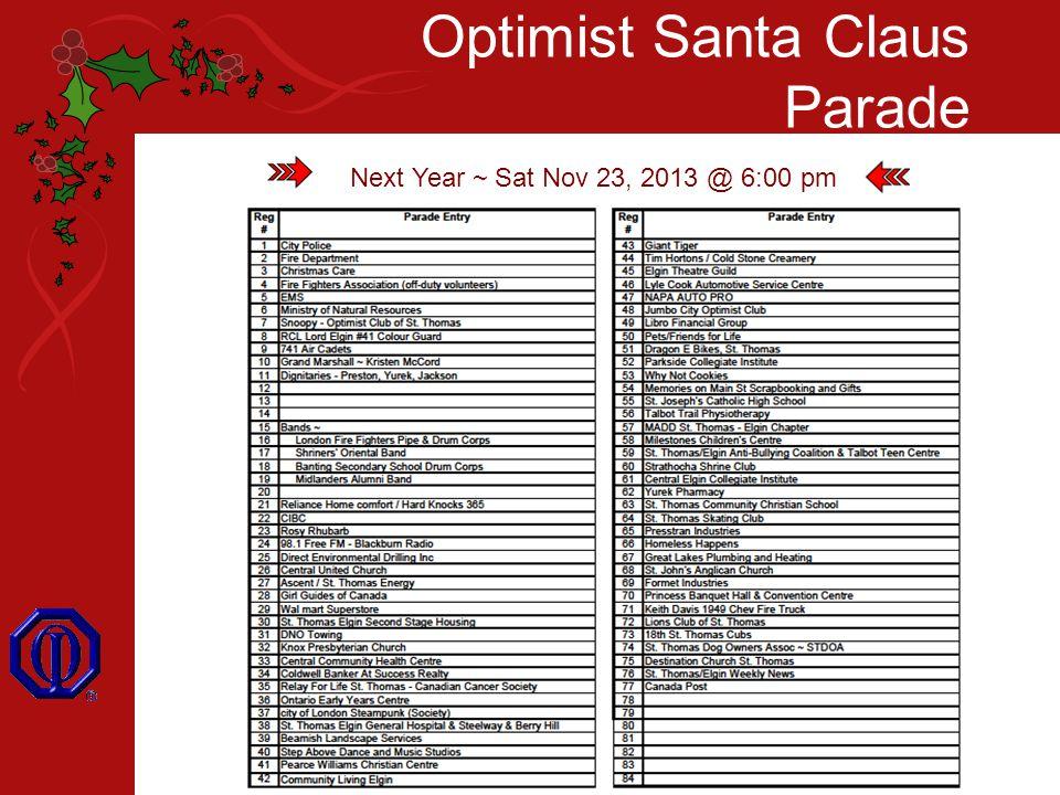 Optimist Santa Claus Parade Next Year ~ Sat Nov 23, 2013 @ 6:00 pm