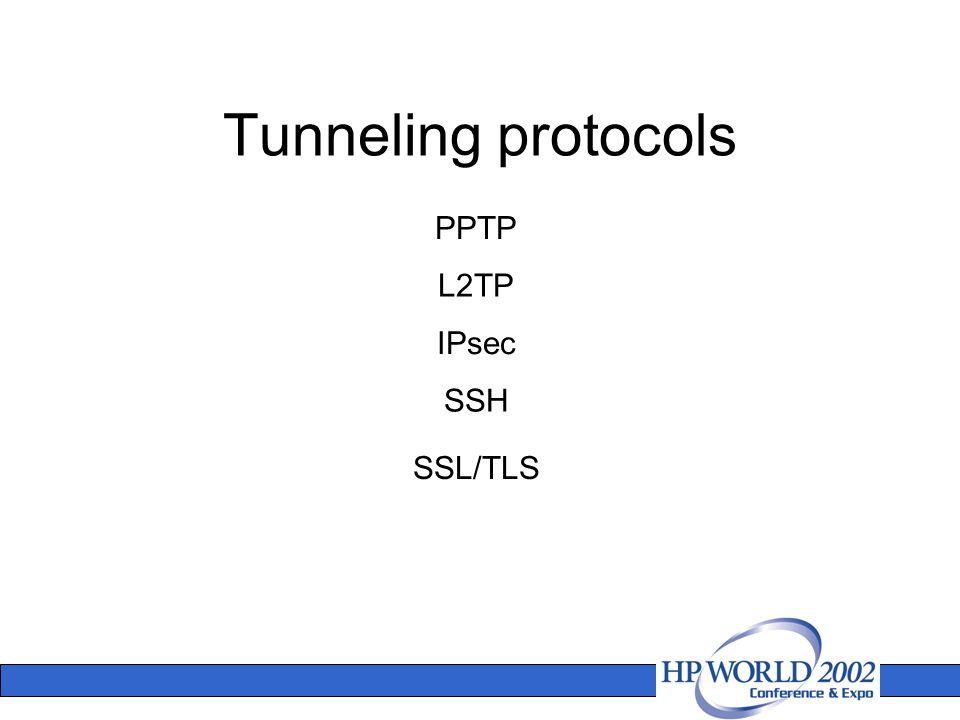 Tunneling protocols PPTP L2TP IPsec SSL/TLS SSH