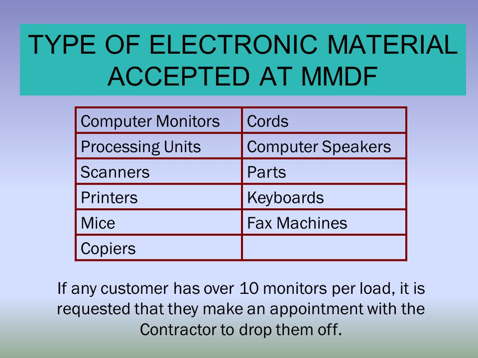 TYPE OF ELECTRONIC MATERIAL ACCEPTED AT MMDF If any customer has over 10 monitors per load, it is requested that they make an appointment with the Con
