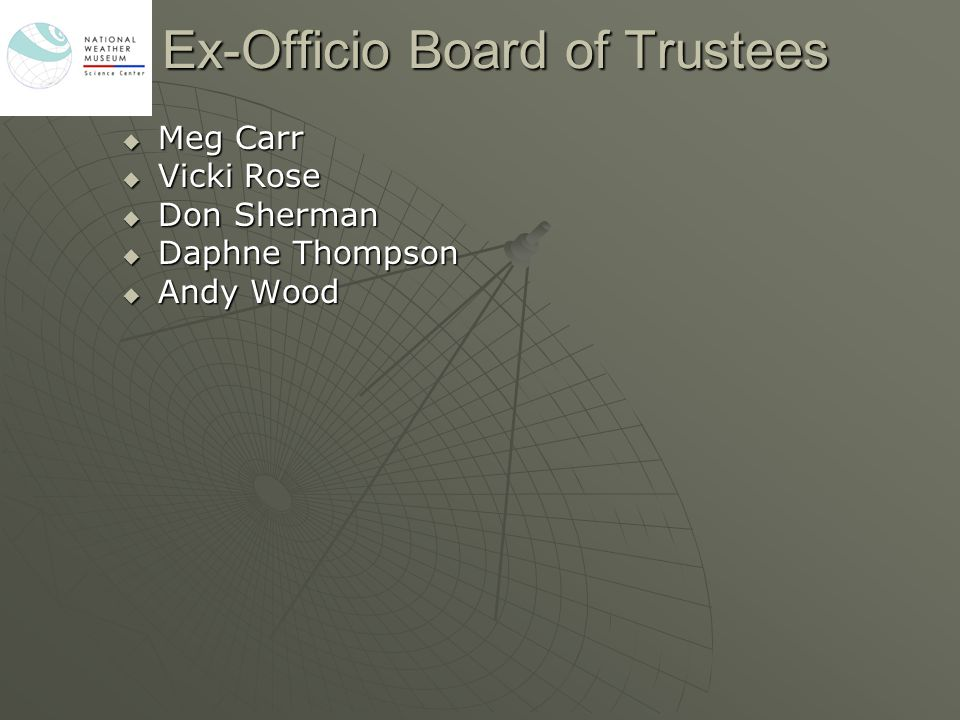 Ex-Officio Board of Trustees  Meg Carr  Vicki Rose  Don Sherman  Daphne Thompson  Andy Wood