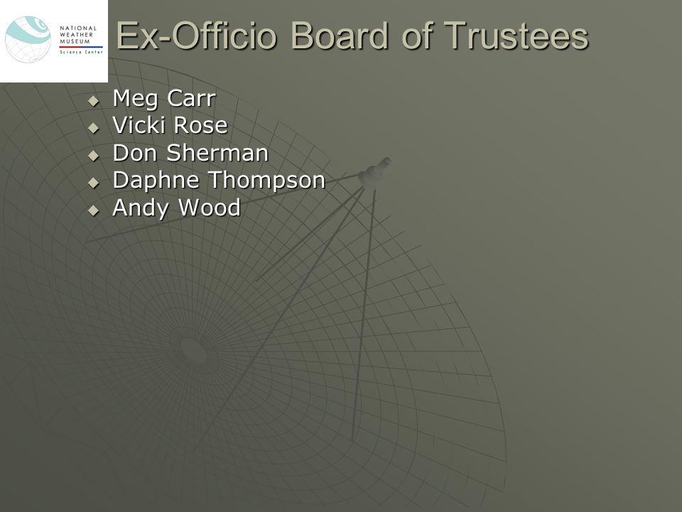 Ex-Officio Board of Trustees  Meg Carr  Vicki Rose  Don Sherman  Daphne Thompson  Andy Wood