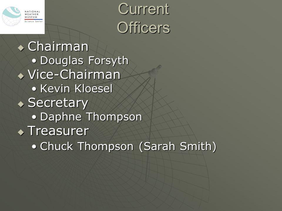 Current Officers  Chairman Douglas ForsythDouglas Forsyth  Vice-Chairman Kevin KloeselKevin Kloesel  Secretary Daphne ThompsonDaphne Thompson  Treasurer Chuck Thompson (Sarah Smith)Chuck Thompson (Sarah Smith)