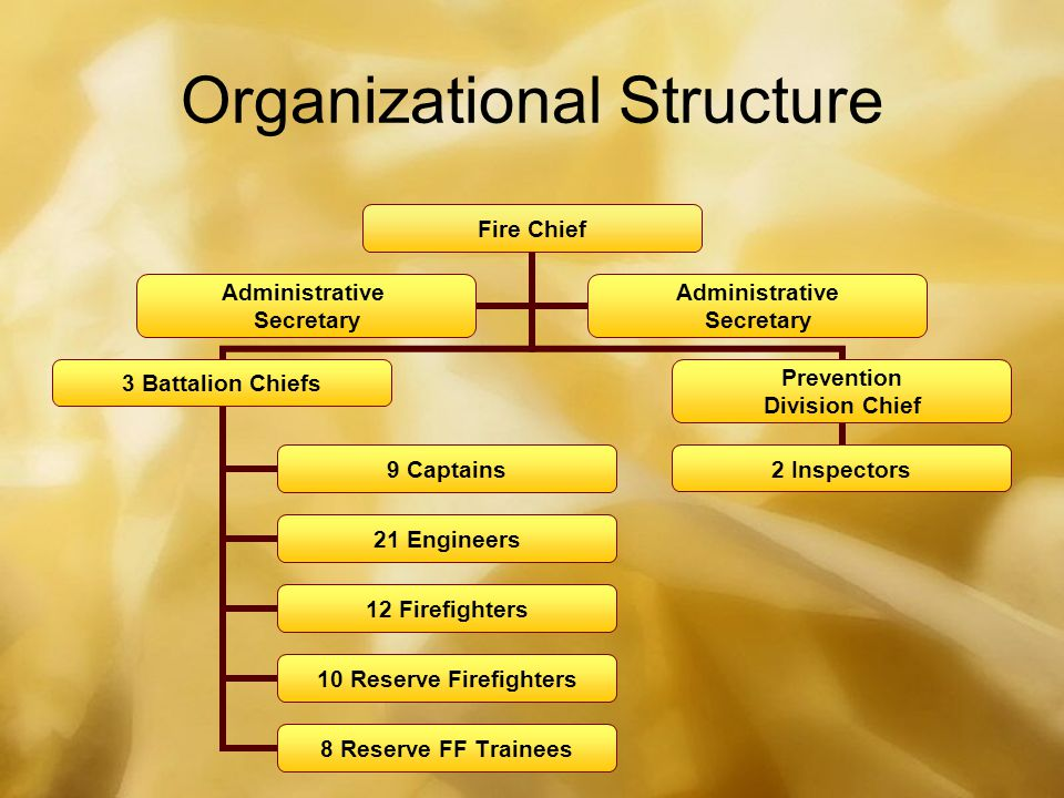 Organizational Structure Fire Chief 3 Battalion Chiefs 9 Captains 21 Engineers 12 Firefighters 10 Reserve Firefighters 8 Reserve FF Trainees Prevention Division Chief 2 Inspectors Administrative Secretary Administrative Secretary
