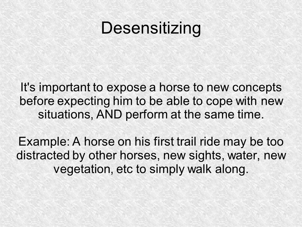 Desensitizing It s important to expose a horse to new concepts before expecting him to be able to cope with new situations, AND perform at the same time.