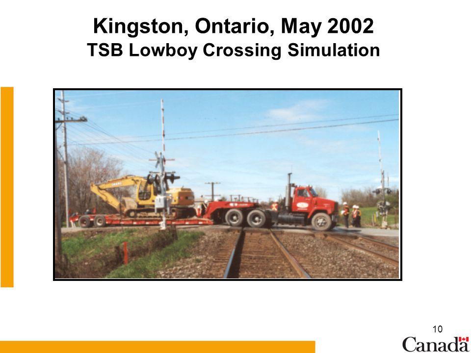 10 Kingston, Ontario, May 2002 TSB Lowboy Crossing Simulation