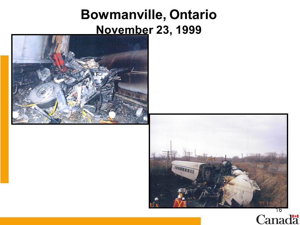 16 Bowmanville, Ontario November 23, 1999