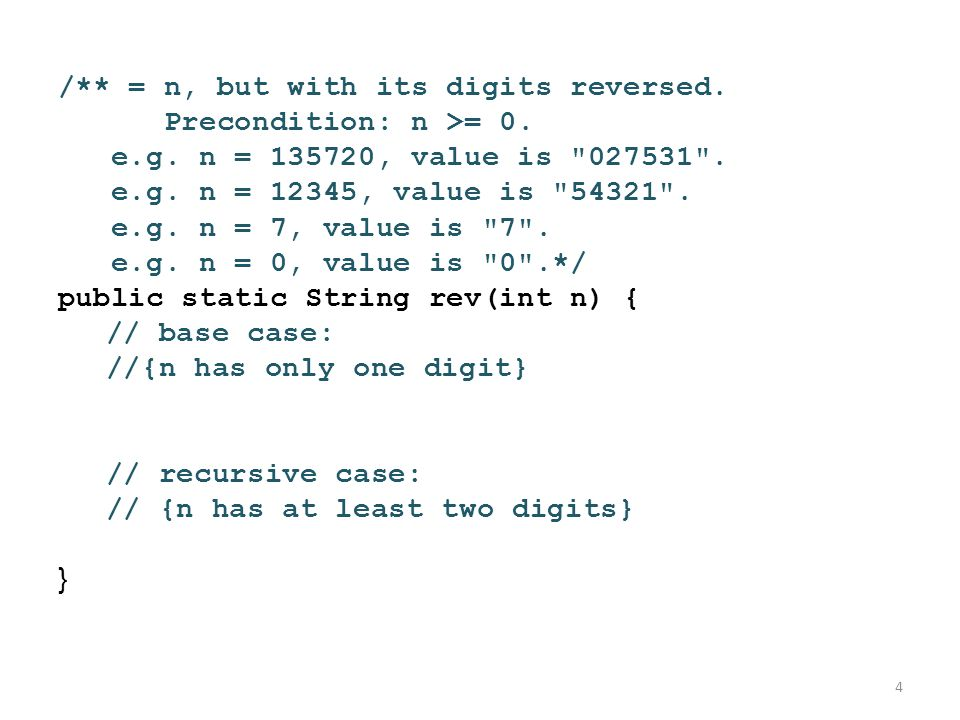 /** = n, but with its digits reversed. Precondition: n >= 0. e.g. n = 135720, value is